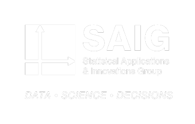 "SAIG logo with tagline ""data, science, decisions"""